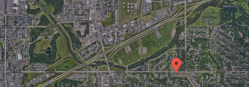 map of area with pin at 57th and Minnesota where Faith Baptist Fellowship is located